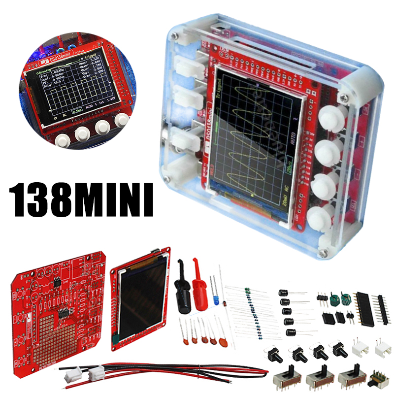 <font><b>DSO138</b></font> <font><b>Mini</b></font> Digital Oscilloscope DIY Kit SMD Parts Pre-soldered Electronic Learning Set Oscilloscopes image