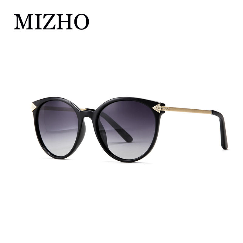 MIZHO Brand Artificial Crystal Ornament Fashion Small Cat eye Sunglasses Mujeres Polarized UV400 Designer Luxury High Quality 2019