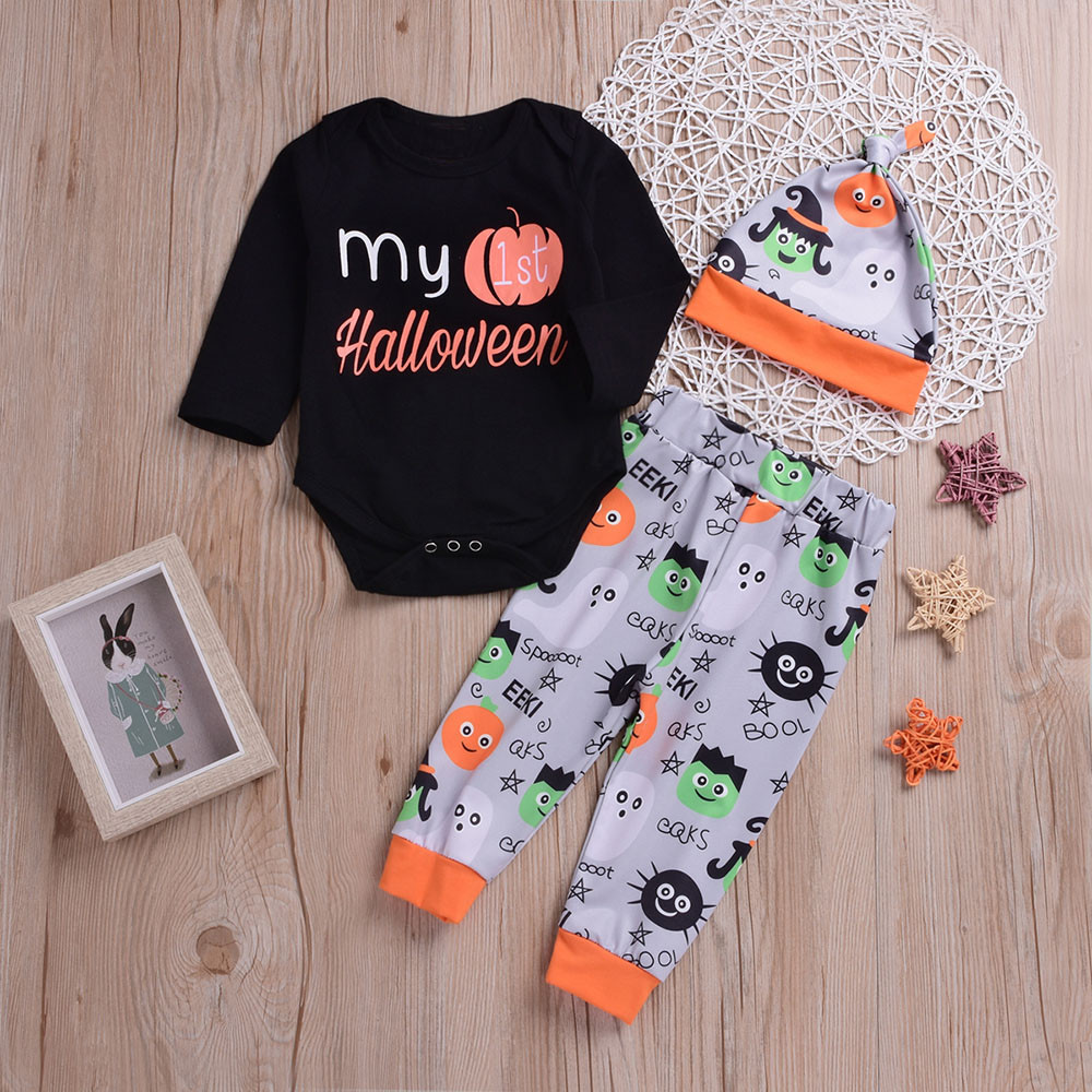 2018 New Soft 3PCS Halloween Kids Baby Letter Print Romper+Cartoon Print Pants+Hat Comfortable Set Outfit Baby Clothing set 3pcs fish bone print bathroom rug set