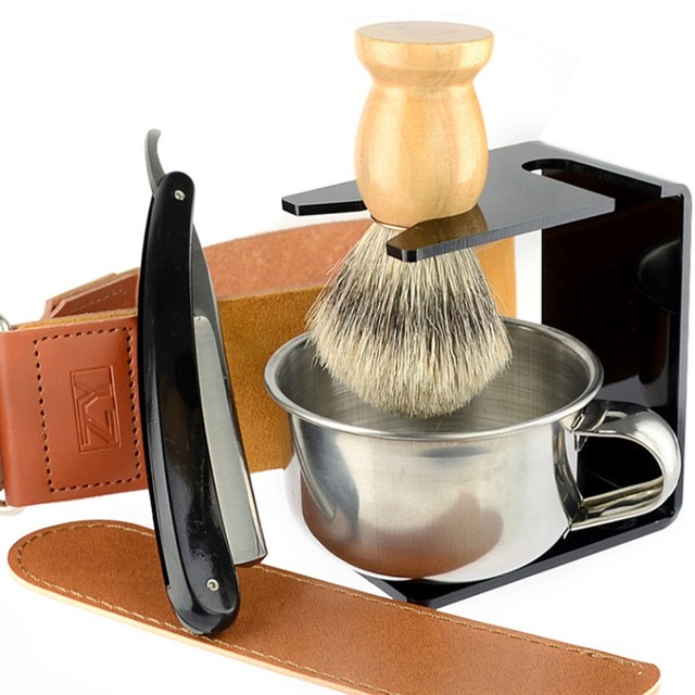 Grandslam Straight Razor Carbon Steel Blades Shaving Set Best Badger Shaving Brush Soap Bowl Barber Leather Sharpening Strop