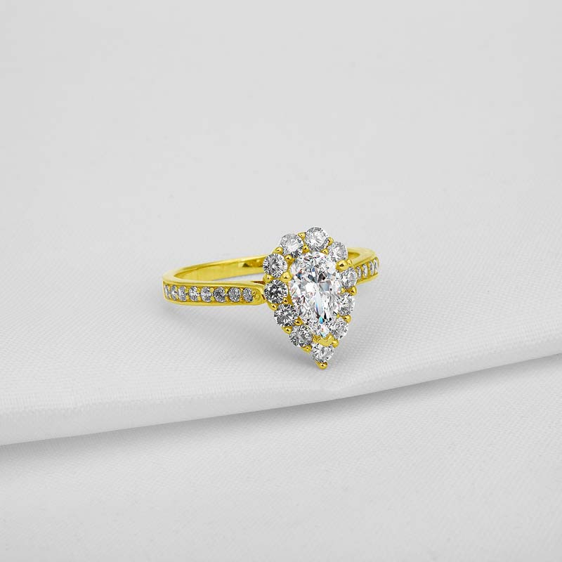 AINUOSHI 10K Solid Yellow Gold Wedding Ring 1 Carat Pear Cut Simulated Diamond Anillos Halo Rings for Women Engagement Bijoux