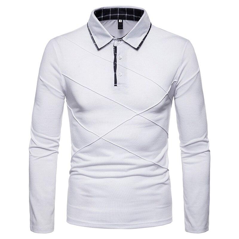 2018 new stitching large size lapel long sleeve men   POLO   P0014