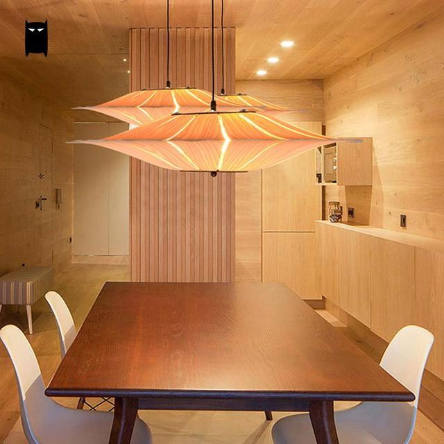 Oak Wooden Veneer Bark Shade Pendant Light Fixture Anese Korean Nordic Rustic Creative Art Hanging Lamp Luminaria Design