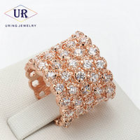 R021 All Stars Rose Gold Color Fashion Ring Made with Genuine Austrian Crystals Full Sizes Wholesale