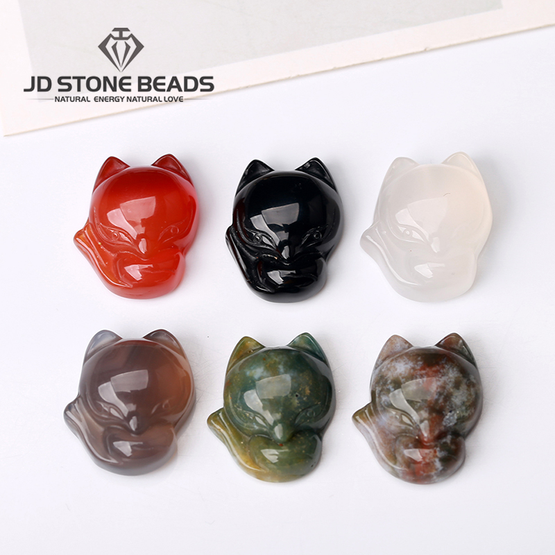 Free Shipping Fashion High Quality Natural Stone Carved Mixed Fox Charms Pendants For Jewelry Making  Wholesale Price
