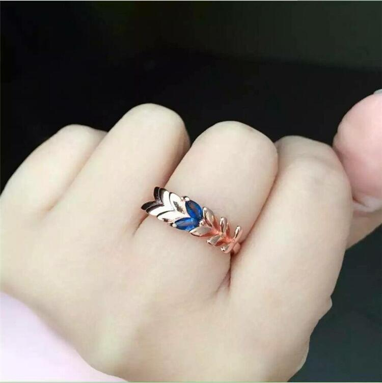 Sapphire ring Natural real blue sapphire 02.5*5mm 2pcs gem 925 sterling silver Fine jewelry Handworked rings цена