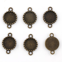Fit 12mm Double Side Loops Round Antique Bronze Pendants Setting Cabochon Cameo Base Tray Bezel Blank DIY Jewelry Findings(China)