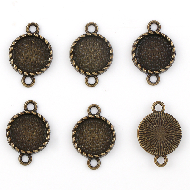 Fit 12mm double side loops round antique bronze pendants setting fit 12mm double side loops round antique bronze pendants setting cabochon cameo base tray bezel blank aloadofball Images