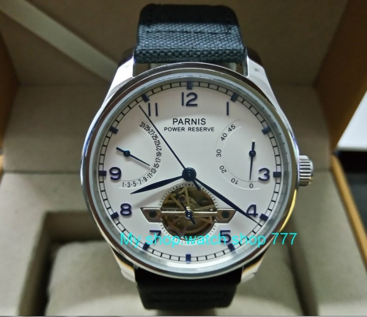 43mm PARNIS White dial power reserve Automatic Self-Wind Mechanical movement men