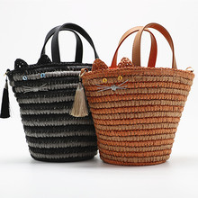 New Fashion Cat Straw Bag Hand Weaving Lady Shoulder Simple Tassel Handbag Vacation Tourism Beach