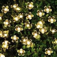 LED energii słonecznej na zewnątrz ogród wodoodporna brzoskwinia światło w kształcie kwiatów 6V lampa wróżka String ogród boże narodzenie świąteczne dekoracje do oświetlenia w Lampy solarne od Lampy i oświetlenie na
