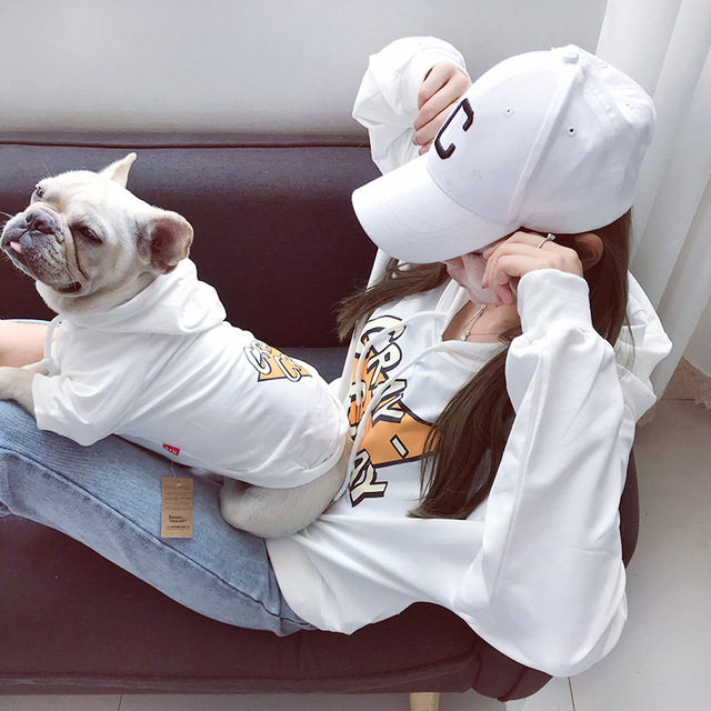 Matching White Warm Sweater for Dogs and Owners