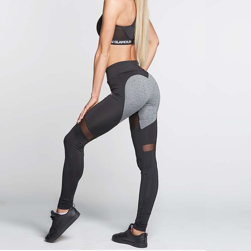 NORMOV Heart-shaped Splice Leggings Woman Casual Mesh Athleisure Clothing Elastic Sporting Leggings Women Pants