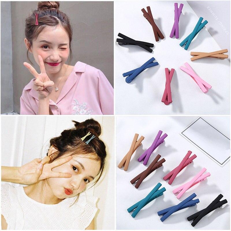 Ruoshui Woman Hair Accessories Girls Scrub Candy Colors Hairpins Cross Hair Clips Femme Barrette Sweet   Headwear   Hairgrip