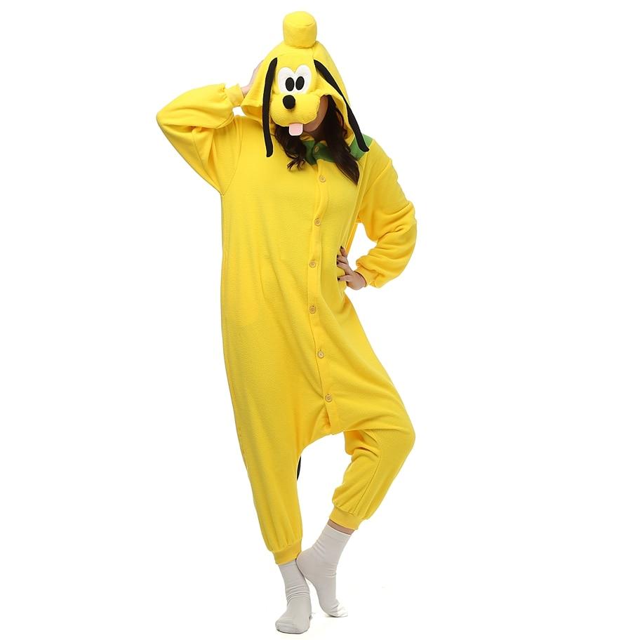 Adult Polar Fleece Animal Kigurumi Yellow Dog Pluto Costume Onesie Pajama Halloween Carnival Masquerade Party Christmas Jumpsuit