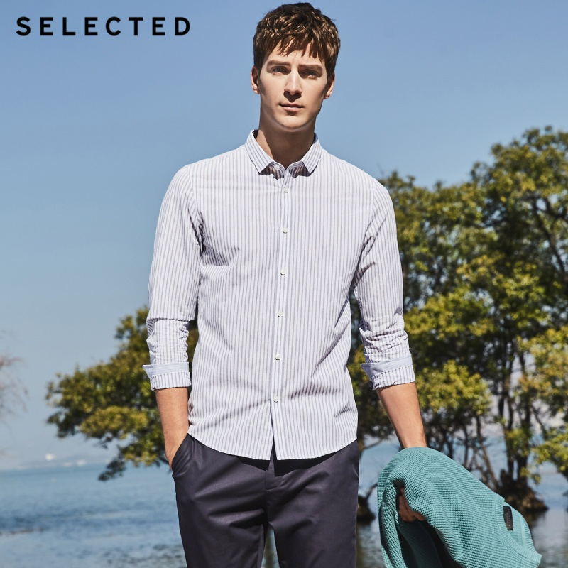 SELECTED New Cotton Striped Men's Slim Business Casual Long-sleeved Shirt S|418205514