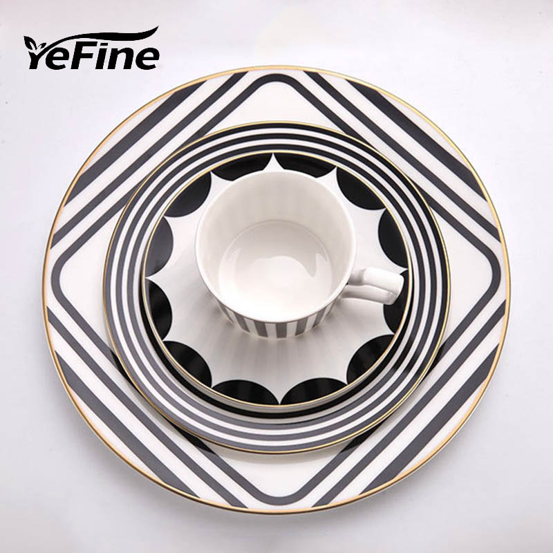 YeFine Hotel Supplies Western-Style Food Container Dinner Plates Brief Design Porcelain Tableware <font><b>Set</b></font> Dinnerware With Coffee Cup