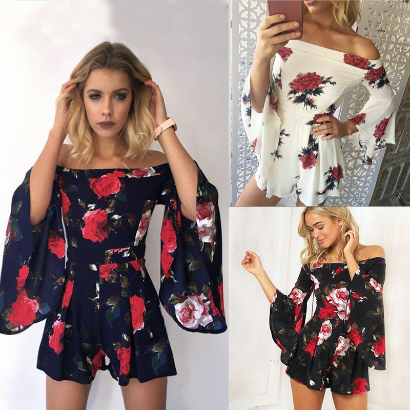 ELSVIOS 2018 New Spring Summer Floral Print Rompers Jumpsuits women Sexy off shoulder Overalls lady Casual boho Beach Playsuits 5
