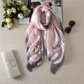 Aristocratic temperament scarf fashion ink edge flowers silk screen shawl Foulard Mousseline Swimwear Women Scarf Pure Silk