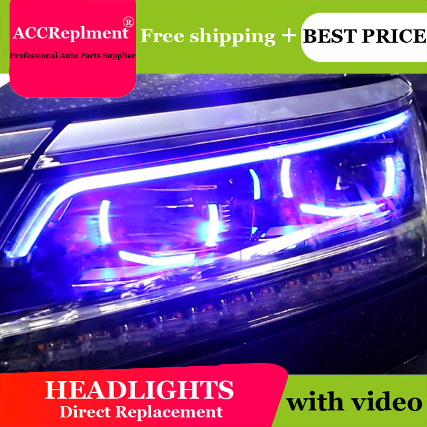 Car Styling Head Lamp for VW Passat B7 led headlights 2016-2017 Volks Wagen Passat B7 Headlight LED H7 hid Bi-Xenon Lens low bea auto part style led head lamp for porsche 997 series led headlights for 997 drl h7 hid bi xenon lens angel eye low beam