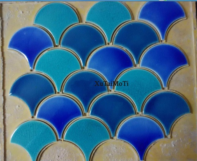 Hot Blue Green Fish Scale Ceramic Mosaic Tile Kitchen Backsplash Bathroom Swimming Pool Wall Fan Porcelain