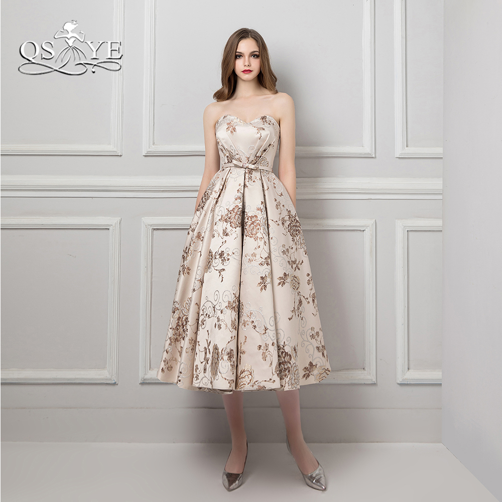 QSYYE 2018 New Prom Dresses Robe de Soiree Sweetheart Lace up Back Embroidery Satin Tea Length Evening Dress Party Gown Custom ...
