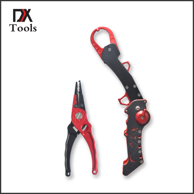 Aluminum Fishing Tools Folding Fishing Lip Grip With Light Weight Fishing Pliers Hook Remover Cutting Line Tackle Set 2017 new multifunctional aluminium fishing pliers folding fishing grip stainless steel fish controller fishing tackle tool set