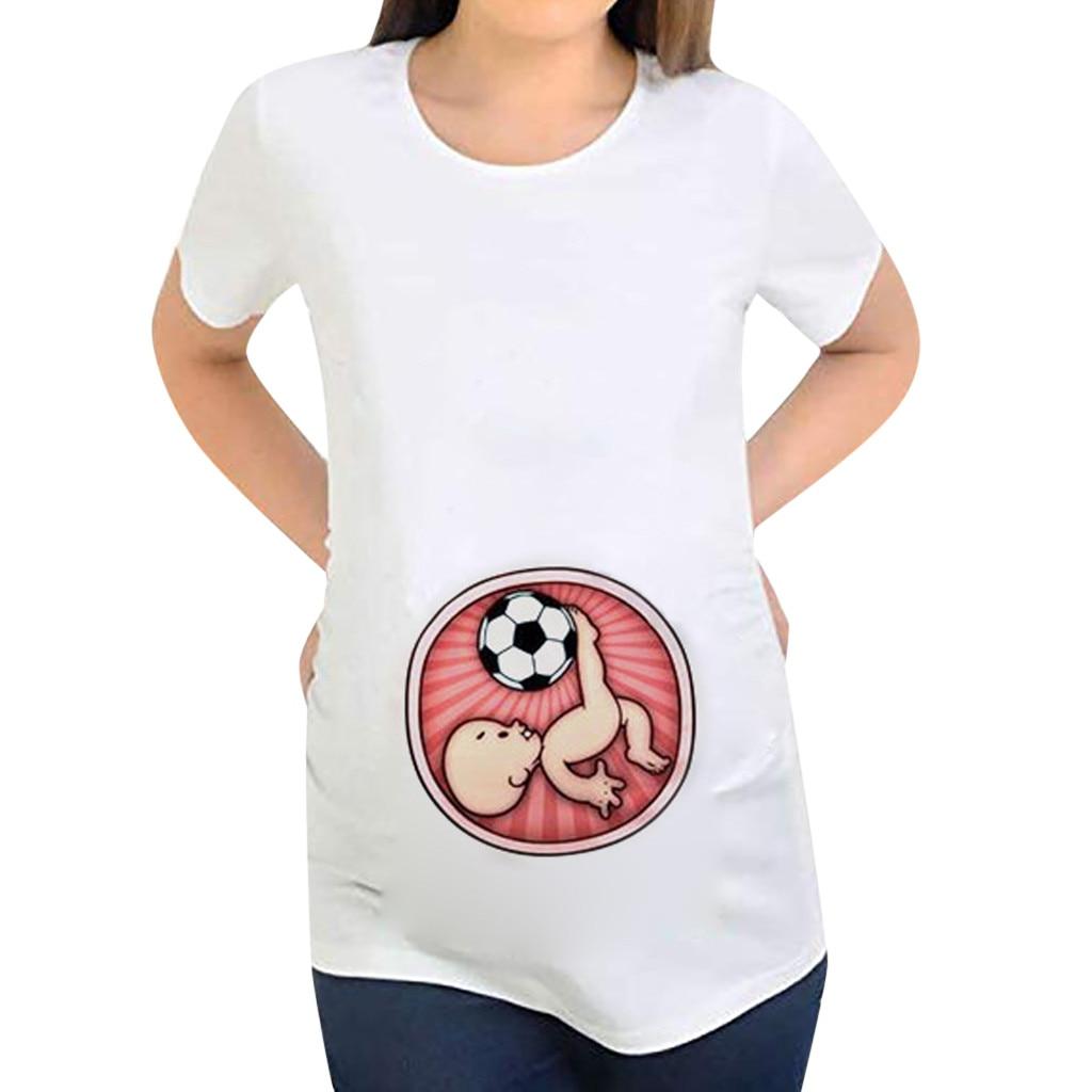 Women Pregnancy Short Sleeve Tops Cartoon Letter Shirt Maternity Blouse Clothes
