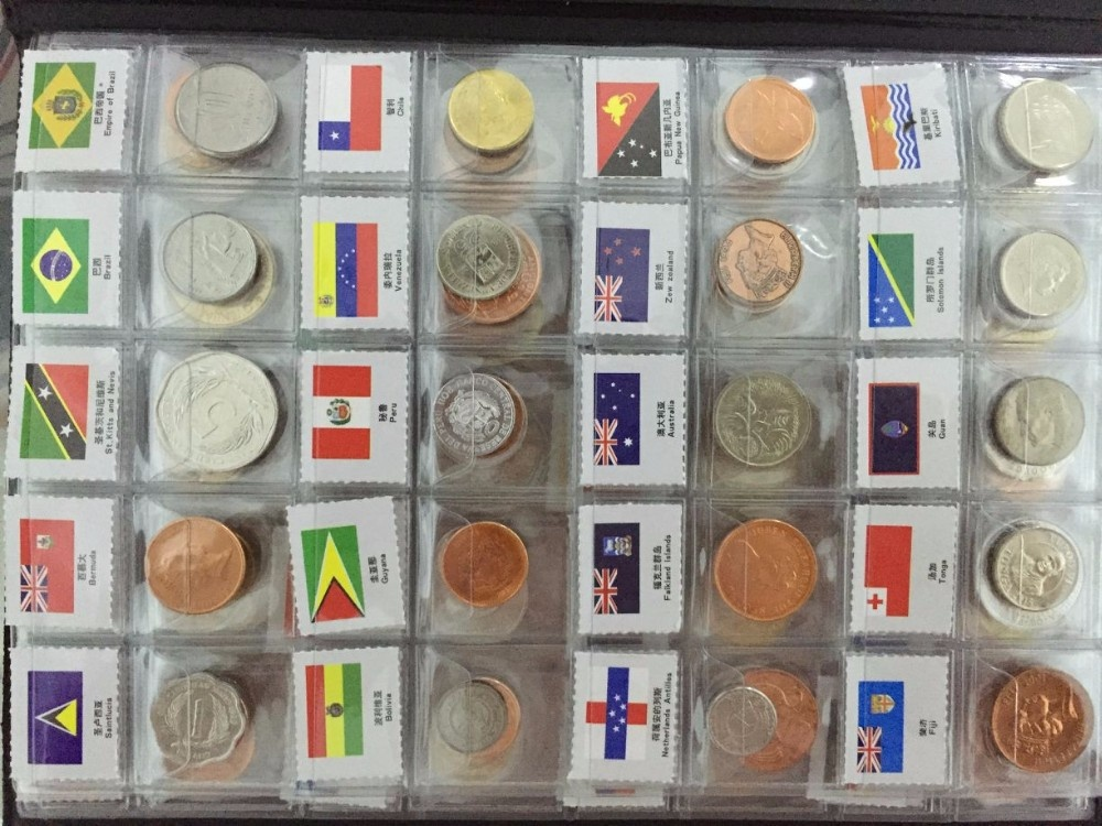 120 Countries Coins the most value for coin Set Fine Coin 100% Original Genuine with name and flag-in Non-currency Coins from Home & Garden    3