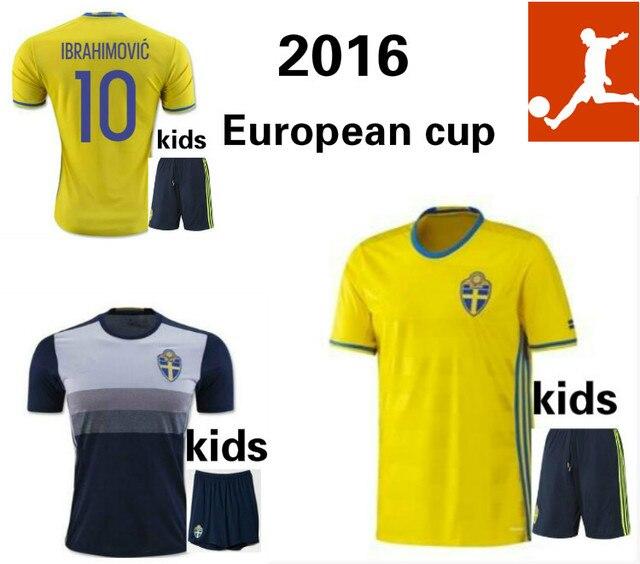 7ae55e5190a 1617 children Swedish national team jersey 2016 European Cup Ibrahimovic  Sebastian Larsson 2017 Swedish football shirt