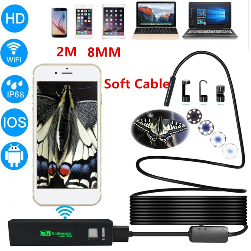 2M 8mm Lens HD 1200P Wireless WiFi Endoscope Mini Waterproof Soft Cable Inspection Camera 8LED Borescope for IOS and Android PC zwn wifi endoscope hd 1200p waterproof hard wire usb inspection mini camera with 8mm lens and 8 led borescope for android ios pc