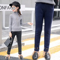 Girls Children's Garment 2017 Autumn And Winter Brass Buckle Jeans Child Increase Down Trousers Autumn Kids Pants