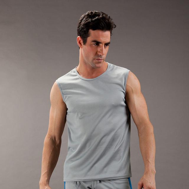 2016 dos homens roupa interior de malha slim fit Colete colete desgaste do verão O-pescoço salão tops T-shirt vestir para os homens