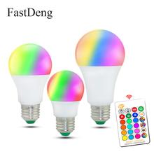 110V 220V E27 RGB LED Bulb Lights 5W 10W 15W RGB Lampada Changeable Colorful RGBW LED Lamp With IR Remote Control+Memory Mode cheap FastDeng CN(Origin) 2700K~6500K 2835 living room AC 110V 220V 500 - 999 Lumens Globe 50000 91mm LED Bulbs Bubble Ball Bulb