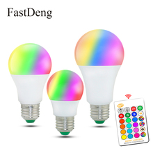 Lâmpada LED RGBW colorida mutável com controle remoto infravermelho, 110V 220V E27, bulbos RGB 5W 10W 15W + modo de memória