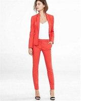 Notch Lapel Women Pantsuits Tuxedo 2 Piece Set Coral Red Women Business Suit Female Office Uniform Ladies Pantsuits Custom Made