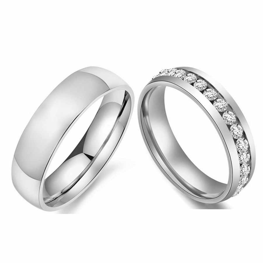 Silver-color Wedding Bands Ring for Women Men Jewelry 6mm Stainless Steel Engagement Ring US Size 5 to 13
