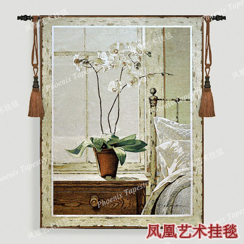Belgium jacquard fabric picture bedside orchids big 136X102cm tapestry wall hangings home textile other products H149