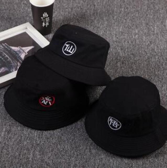HATGUD TYLZT Brand Sale Chinese Letter Solid Cotton Women Men Bucket Hats  Men s Hip Hop Bucket Caps Fisherman Hat dca4407520c
