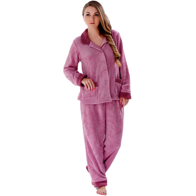 Ladies Winter Warm Coral Fleece Pajamas Sets Plus Size Home Clothing 2  Pieces Sleepwear Suits Pyjamas For Women Female ca2c1be9b