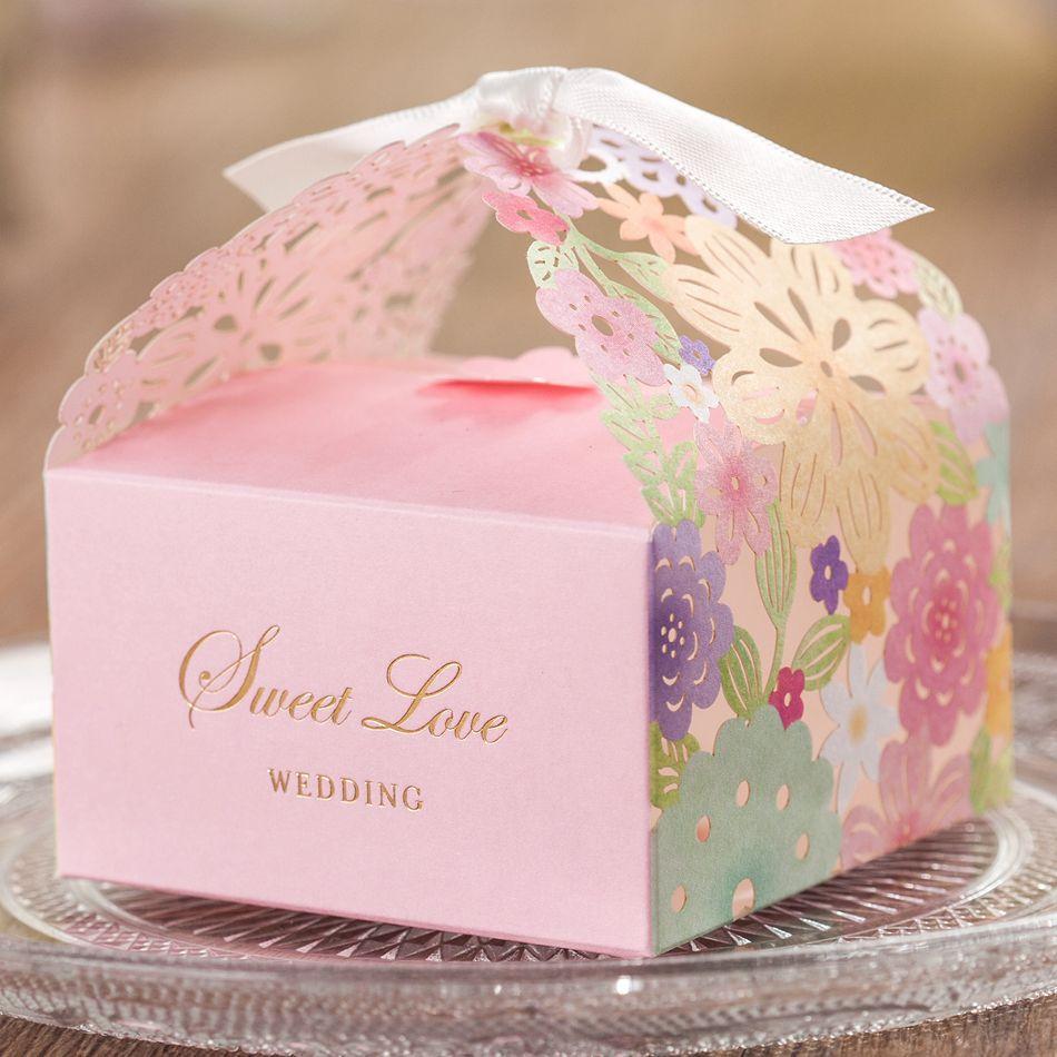 Colorful Floral Laser Cut Candy Box Wedding Favors Designer Box ...