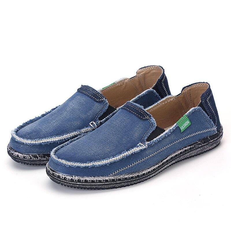 New Mode Chaussures gray Hommes De Toile Brand Respirant Haute Qualité Mocassins blue Plus Appartements Jeans Taille Mens Casual Black La Ccharmix Fx57Yww