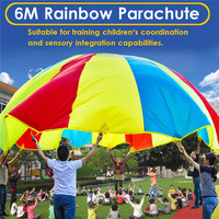 6M Diameter Outdoor Rainbow Parachute Toys Kid Outing Camping Kindergarten Interactive Toy Team Activity Coordination Group Game