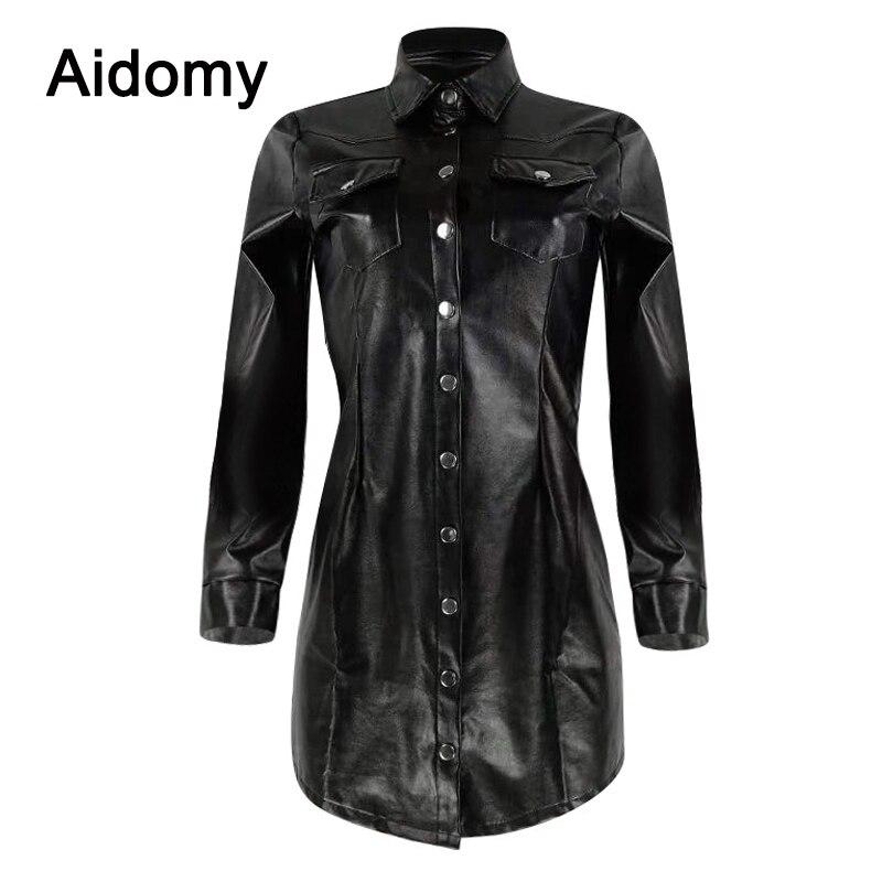 a9b43abf391c787 Повседневная черная кожаная рубашка женская с длинным рукавом с отложным  воротником однобортная Блузка Плюс Размер одежда