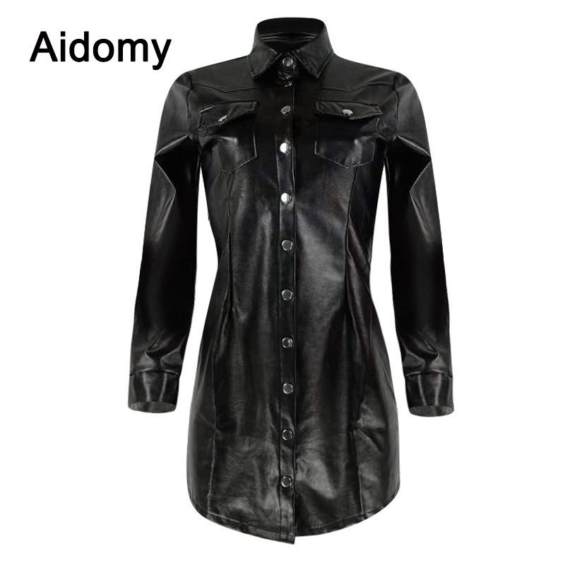 Casual Black Leather Shirt Women Long Sleeve Turn Down Collar Single Breasted Blouse Plus Size Clothing Women Tops Office Wear