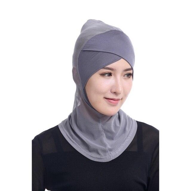 New Under Scarf Hat Cap Bone Bonnet Hijab Islamic Head Wear Neck Cover  Muslim Summer Transparent Women StylishHead Wear 2018 a6a2b180f3f9