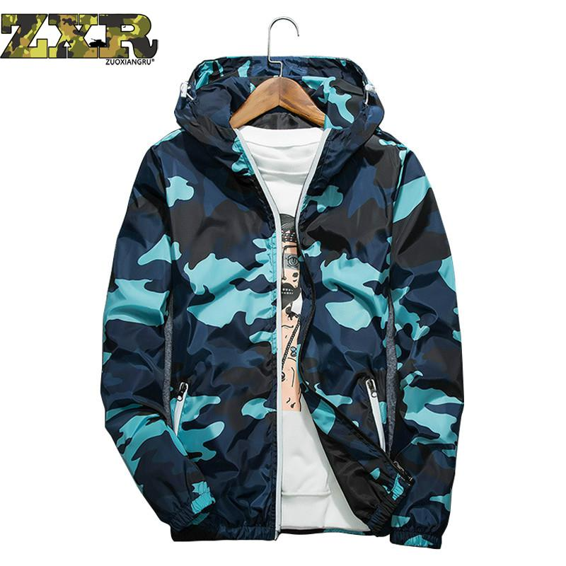 Spring Autumn Men Camouflage Zipper hoodie Baseball Coat Casual Thin Big Size Stitching Jacket Tops Windbreaker