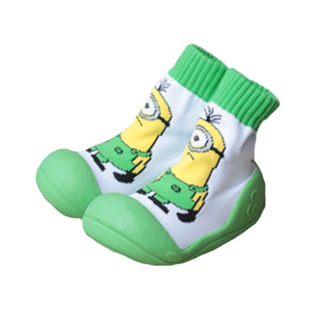 Minions bebé Calcetines Con Suela De Goma Niño Zapatos de Interior Del Piso Bebé Calcetines de Pie Calcetines de Bebé de Algodón Recién Nacido Antipatinaje WS935