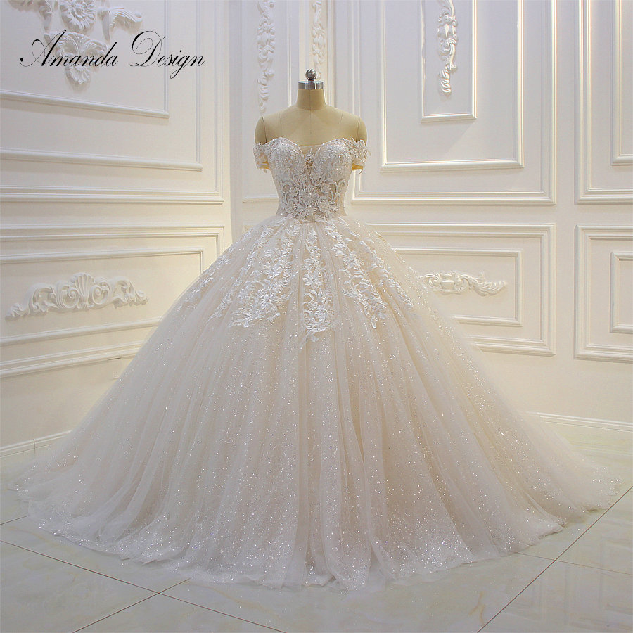 Amanda Design abiti da sposa Off Shoulder Short Sleeve Lace Appliqued Sequins Wedding Dress