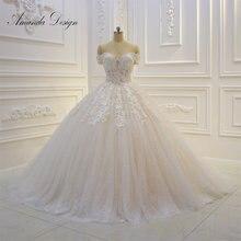Amanda Thiết Kế abiti da sposa Tắt Vai Ngắn Tay Áo Ren Appliqued Sequins Wedding Dress